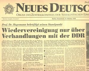 Bericht über Hagemanns Auftritt in der DDR (Quelle: Neues Deutschland, 25. Oktober 1958)