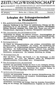 Lehrplan des Fachs im Dritten Reich (Quelle: Zeitungswissenschaft 10. Jg.)