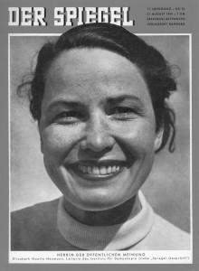 Elisabeth Noelle-Neumann auf dem Titel des Spiegel (Quelle: Der Spiegel, 21. August 1957)