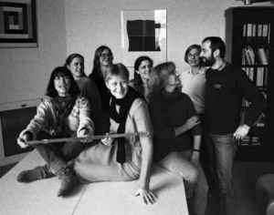 Doris Viertel, Irene Neverla, Christina Holtz-Bacha, Renate Hackel-de Latour, Elisabeth Gallenkamp, ???, Verena Hruska, Jürgen Hein (von links). Foto: Hanno Hardt
