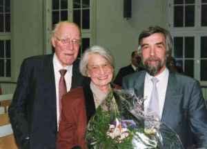 Jürgen Wilke mit Elisabeth Noelle-Neumann und Heinz Maier Leibnitz (Foto: Y)