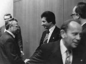 Professorenkollegen. Von links: Heinz Halbach, Karl-Heinz Röhr und Wolfgang Rödel (Quelle: Privatarchiv Karl-Heinz Röhr).