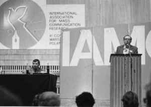 IAMCR 1978 in Warsaw. Speaker: Werner Michaelis, Leipzig (source: privat archive, Werner Michaelis).